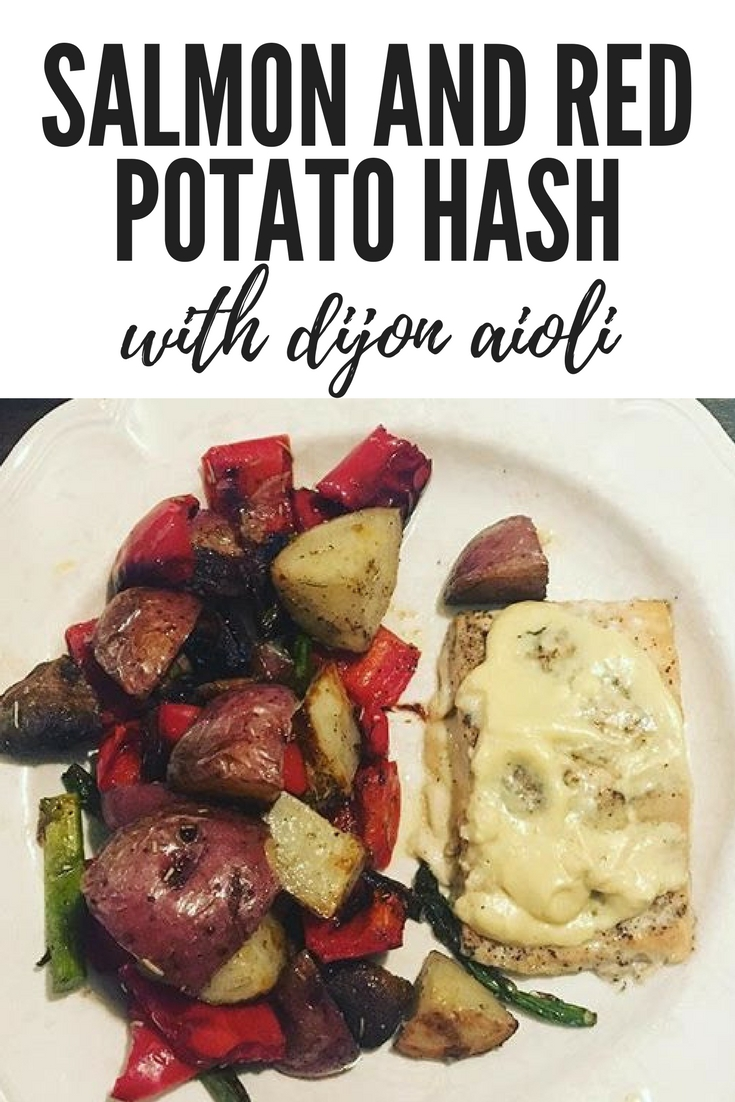 Salmon and red potato hash with dijon aioli