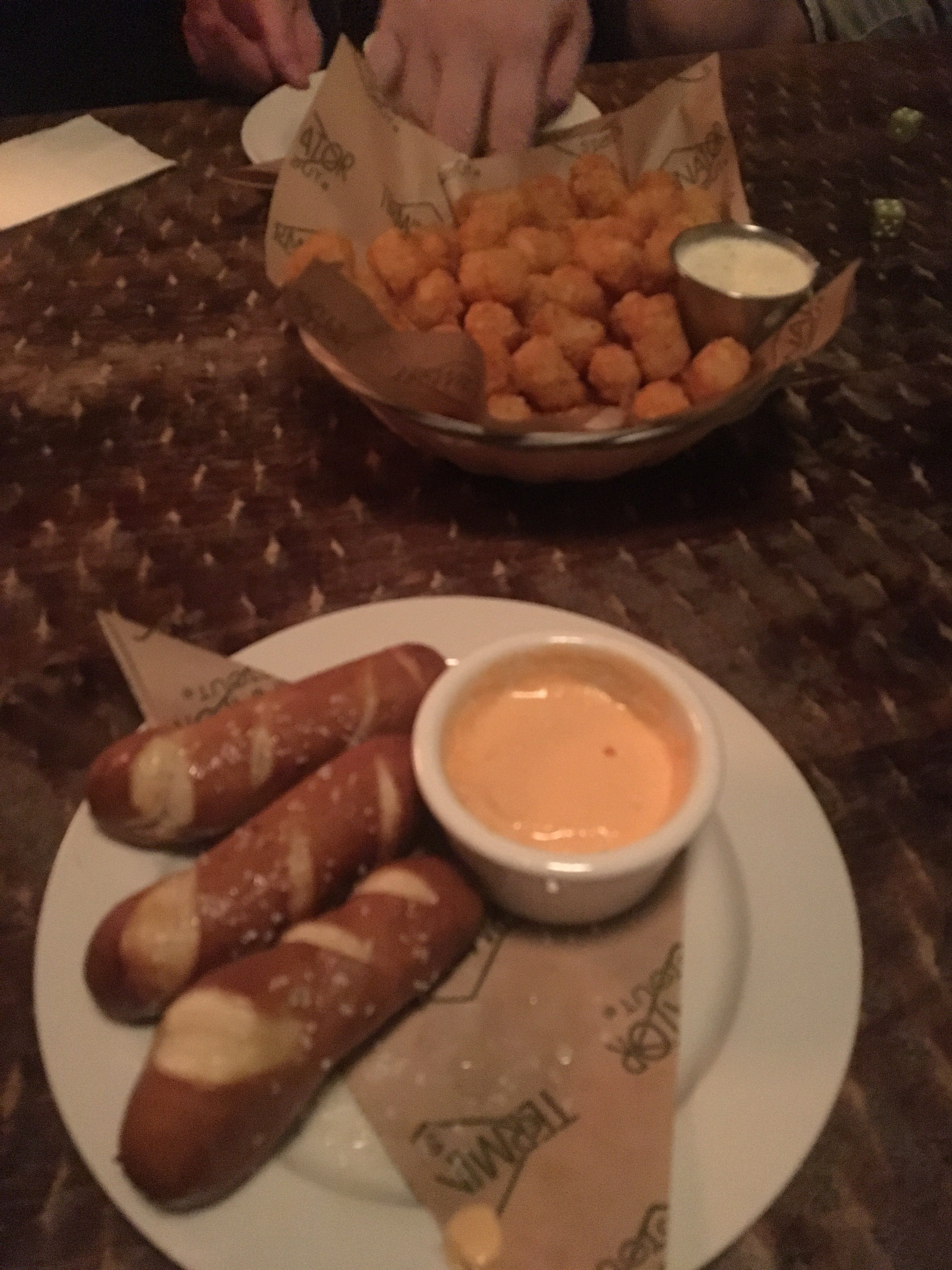 Cajun tater tots and pretzel sticks